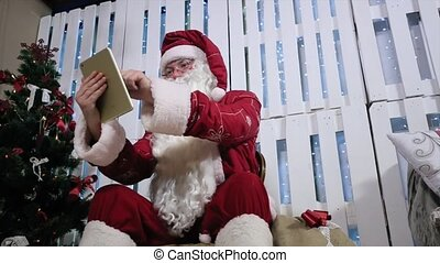 touchscreen, kamer, tablet, type, boom., kerstman, openhaard, kerstmis