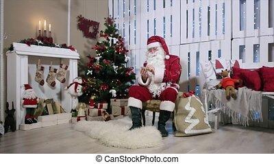 touchscreen, telefoon, type, zoom, kadootjes, boompje, kerstman, openhaard, kerstmis, kamer