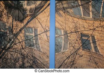 townhouse, venster, shuttered, stucco muur, sinaasappel