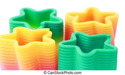 toys-springs, vorm, plastic, vier, sterretjes, roeren