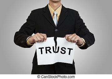 traan, zakenman, vertrouwen, papier, woord