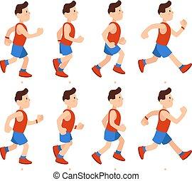 tracksuit, plat, mannelijke , uitvoeren, jongen, atletisch, sequence., illustratie, spotprent, loper, rennende , vector, animatie, lijstjes, benen, animatie, man.