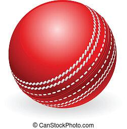 traditionele , cricket bal, glanzend, rood