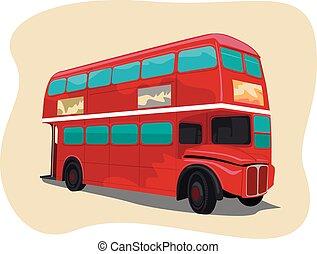 traditionele , dubbel dek, londen, bus, rood