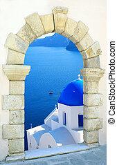 traditionele , griekenland, eiland, door, kerk, santorini, oud, venster, griekse
