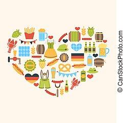traditionele , hart, gemaakt, symbolen, oktoberfest
