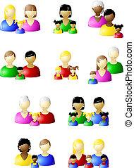 traditionele , pictogram, set, niet, families