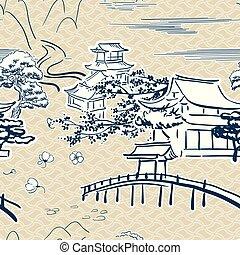 traditionele , schets, model, japanner, symbolen, vector, beweegreden