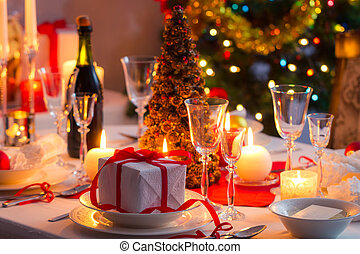 traditionele , tafel, dishware, kerstmis