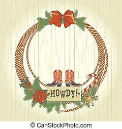 traditonal, krans, amerikaan, kerstmis, westelijk, cowboy, decoraties