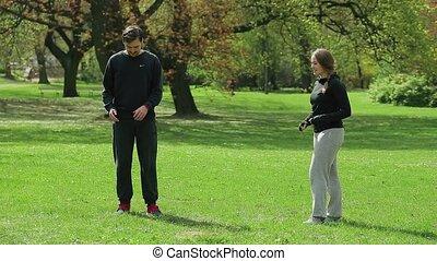 trainer, jogger, mannelijke , park, persoonlijk