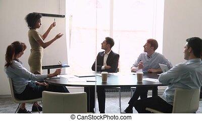 trainer, klesten, geven, werknemers, flipchart, zeker, spreker, afrikaan, presentatie