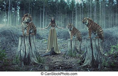 trainer, tijgers, aantrekkelijk, vrouwlijk