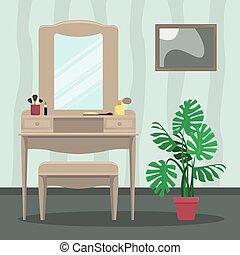 traliewerk, spiegel, slaapkamer, vector