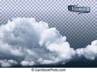 transparant, wolken, achtergrond., vector