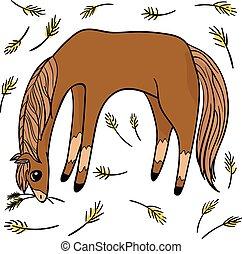 transparent., gekke , set, voorwerp, vier, springt, horses.