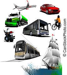 transport., alles, vector, soorten, illustratie