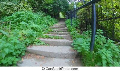 trap., beklimming, beklimmingen, stappen, stap, beton, pov, iemand