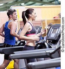 tredmolen, paar, centrum, gezonde , sportende, rennende