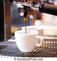 treft voorbereidingen, koffie, zijn, espresso, sho
