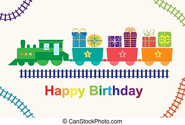trein, kadootjes, gelukkige verjaardag