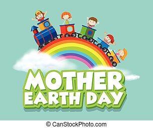trein, moeder, vrolijke , aarde, kinderen, ontwerp, dag, poster