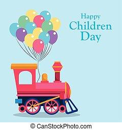trein, ontwerp, kinderen, vrolijke , cabine, kleurrijke, lege, ballons, dag