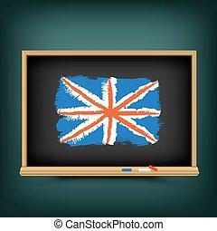 trekken, school, bord, vlag, groot-brittannië