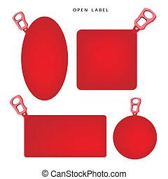 trekken, set, illustratie, ring, spandoek, rood