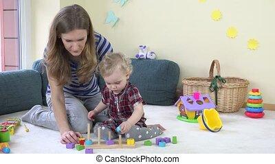 trekken, toneelstuk, kleurrijke, haar, houten, bakstenen, stangen, moeder, meisje, toddler, home.