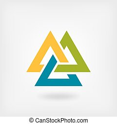 tricolor, symbool., valknut, interlocked, driehoeken