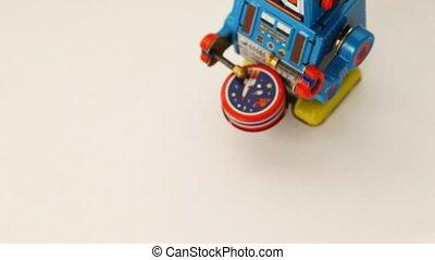 trommel, robot, een, clockwork, wandelingen, veegen