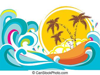 tropisch eiland, vector, achtergrond, golven