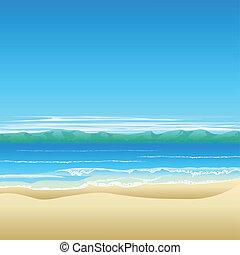 tropisch strand, achtergrond, illustratie