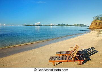 tropisch strand, twee, stoelen, zon