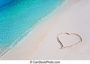 tropische , hart, zand strand, paradijs