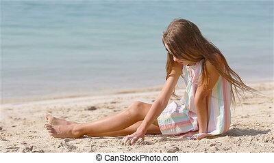 tropische , kasteel, wit strand, vervaardiging, weinig; niet zo(veel), zand, meisje