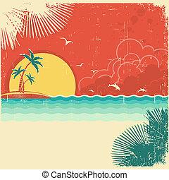 tropische , oud, palmen, natuur, ouderwetse , poster, versiering, papier, textuur, achtergrond, eiland, zeezicht