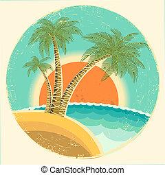 tropische , oud, zon achtergrond, palmen, eiland, exotische , pictogram, vector, ouderwetse , symbool., ronde