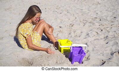 tropische , vervaardiging, zand strand, meisje, kasteel, weinig; niet zo(veel), witte