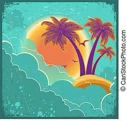 tropische , wolken, ouderwetse , eiland, donker, oud, papier, tekst, achtergrond, poster, zon