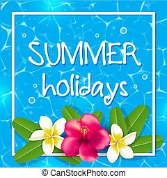 tropische , zomer, frame, bloemen