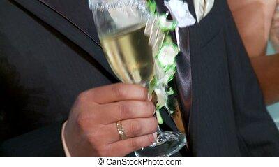 trouwfeest, het fonkelen, winde, paar