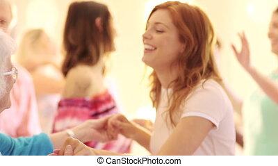 trouwfeest, het genieten van, gasten, dancing