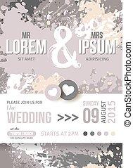 trouwfeest, splashes., verf , uitnodiging, datum, sparen, of, kaart