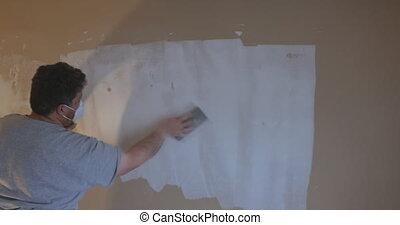 trowel, sanding, gebruik, drywall, aannemer, zand