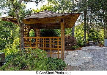 tuin, houten, eiland, japanner, gazebo, tsuru