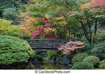 tuin, houten, japanner, oregon, portland, brug