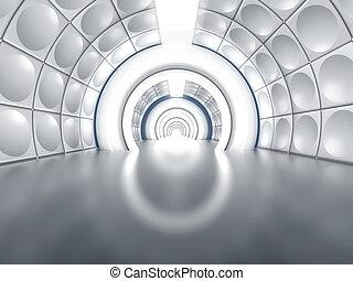 tunnel, futuristisch, zoals, gang, spaceship