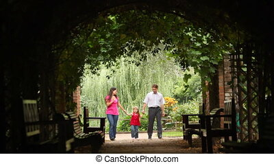tunnel, plant, krommingen, gezin, wandelingen